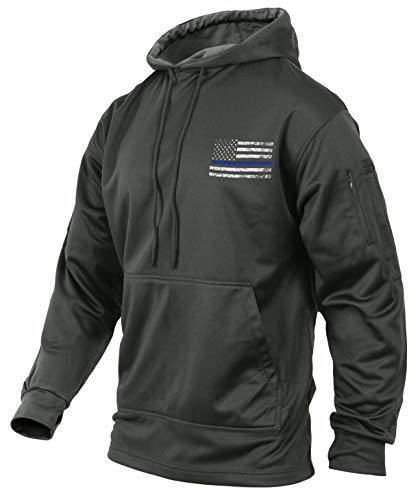 Rothco Thin Blue Line Concealed Carry Hoodie, Grey, Medium