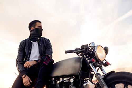 BlackNugget ® Bedrucktes Multifunktionstuch mit ausgefallenem Design - Hochwertige Sturmhaube als Wärm- und Schutztuch - Halstuch, Face Shield, Gesichtsmaske - Schwarz - 4
