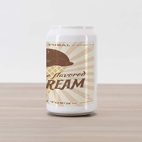 Lunarable Ice Cream Cola Can Shape Piggy Bank, All Natural Chocolate Flavored Summer Snack Best in Town Fresh and Delicious, Ceramic Cola Shaped Coin Box Money Bank for Cash Saving, Beige Brown