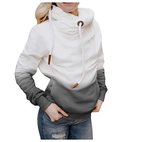 Xmiral Kapuzenpullover Damen Farbverlauf Rollkragenpulli Hoodie mit Taschen für Herbst Winter Warme Sweatshirt(Grau,XXL)