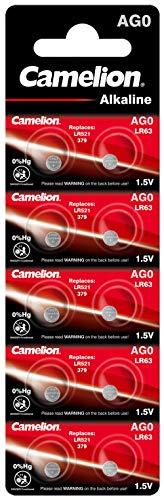 Camelion 12051000 Alkaline Knopfzellen ohne Quecksilber AG0/LR63/LR521/379/1,5 Volt, 10er-Pack