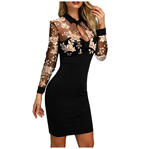 NPRADLA Damen Kleid mit SpitzeTunika Minikleid Longshirt