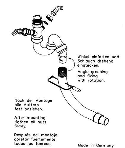 Universeller Röhrengeruchsverschluss für Küchenspülen - Siphon mit flexiblem Abgang - 45° Winkel - zwei Greäteanschlüsse (2 GA) - 1 1/2 Zoll x Ø 40/50 mm
