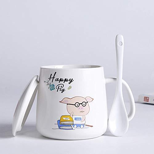 Kaffeebecher Porzellan ,Kaffeebecher,Frühstück Mark Cup Keramikbecher Kindermilch Cup Mikrowelle Beheizbare Kaffeetasse Mit Deckel Büro