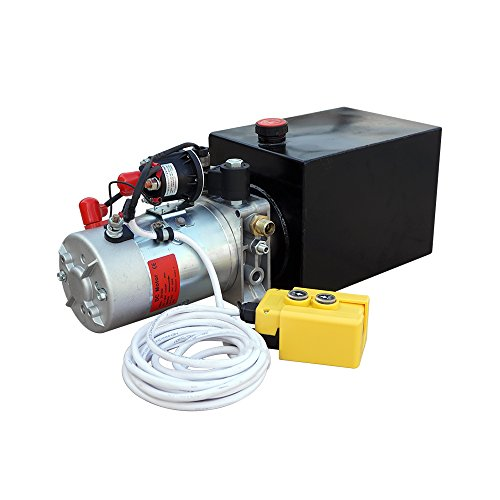 Fisters Langlebiger, hochwertiger elektrischer Metallbehälter 12-V-Hydraulikpumpen-Netzteil Packung Einzelwirkender ferngesteuerter Kippanhänger Geeignet zum Entladen von Aufzügen (6-Quart-Metalltank)