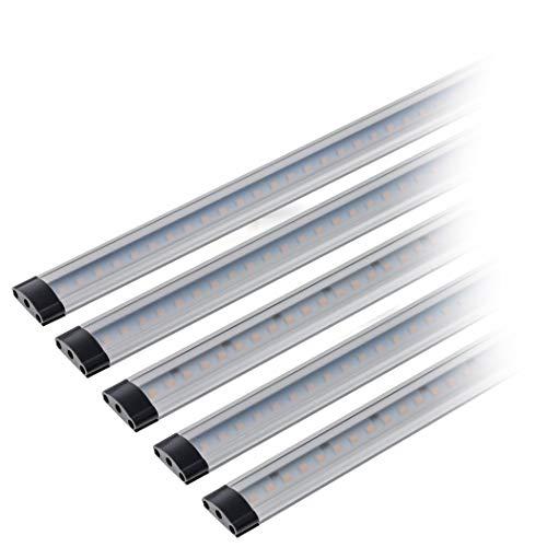SEBSON LED Lichtleiste warmweiß, dimmbar (Touchfuktion), LED Leiste 30 cm, LED Unterbauleuchte 5er Set