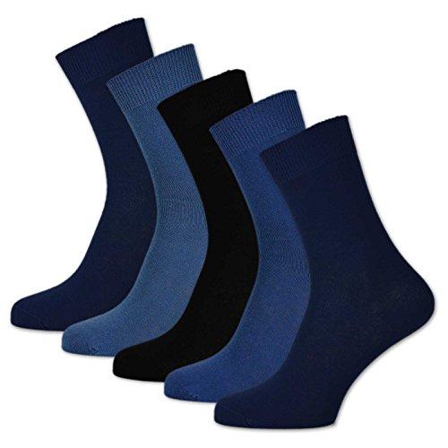 10 Paar Socken 100% Baumwolle Damen & Herren ohne Naht und ohne Gummidruck (47-50, Jeans)