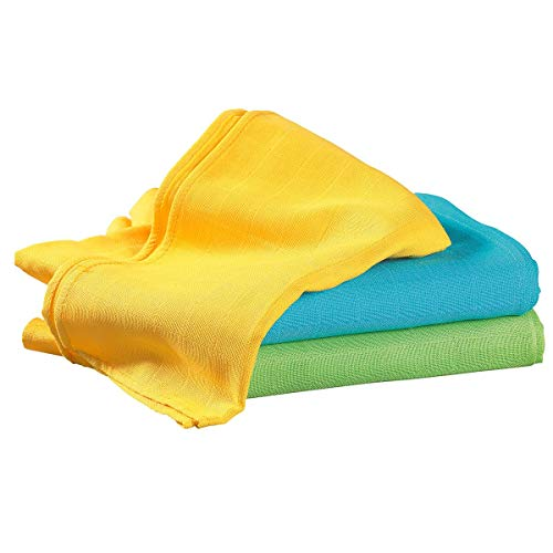 Bornino Lot de 3 langes en gaze 70 x 70 cm couche en tissu, jaune/bleu/vert