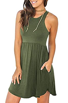 WNEEDU Women's Sleeveless Loose Plain Dresses Casual Short Dress with Pockets