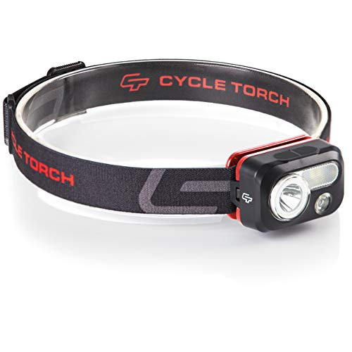 Cycle Torch USB Rechargeable Headlamp - 230 Lumen Head Lamp, Bright White Cree Led + Red Light, Perfect for Runners, Lightweight, Waterproof, Adjustable Headband