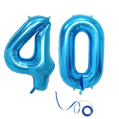"""Globo de helio con número 40, color azul, número 40, cumpleaños, número 40, decoración para fiestas de cumpleaños, tamaño XL, para decoración de cumpleaños de 32"""""""