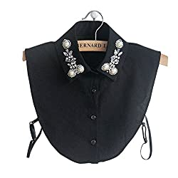 Black Diamond Pearl False Collar Peterpan Fake Collar