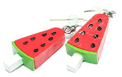 Ohrring Paar Eis am Stiel (Melone) 30 x 13 mm, Ohrstecker süssigkeiten, Motiv Ohrhänger