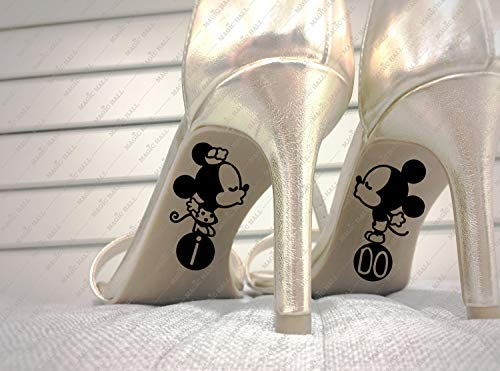 H421ld I DO BODDING SHOES - Calcomanías de Disney, impermeables, 2 calcomanías en el juego, regalo de boda, color personalizado, accesorio único de boda, regalo para novia
