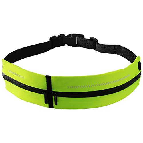 HEITIGN Riñonera Deportiva, Cinturón Luminoso Riñonera para Correr, Cinturón Impermeable para Correr con Tiras Reflectantes Cinturón De Fitness Estuche para Teléfono Móvil para Correr, Verde