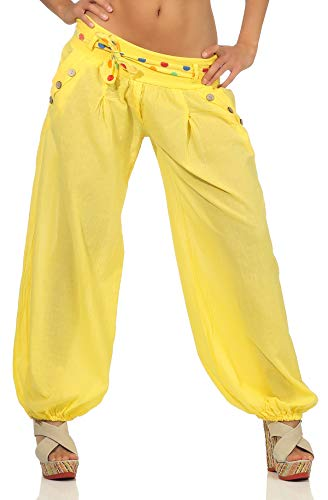 Malito Damen Pumphose in Unifarben | leichte Stoffhose | super Freizeithose für den Strand | Haremshose - lässig 3417 (gelb)