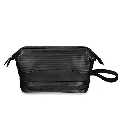 Voyage nécessaire paquet lavage sac en cuir verni matériel portable bain paquet grande capacité peut être lavé 23 * 12 * 14.5 cm ( Color : Black )