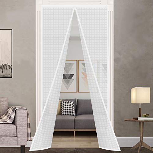 """Insulated Door Curtain, Thermal Magnetic Self-Sealing Door Screen Winter Stop Draft Keep Cold Out Door Cover for Kitchen, Bedroom, Air Conditioner Room,Hands Free, Fits Doors up to 36"""" x 82"""", White"""