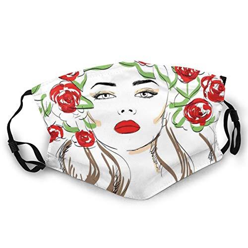 Dibujado a mano Señora con rosas en su pelo ornamentales florales tema de ilustraciones naturales, máscara para adultos