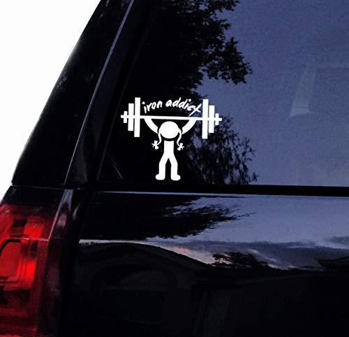 H421ld Iron Addict Beast Mode Lady Weightlifter Decal, Vinilo para Gimnasio Pesas Barbells Entrenamiento Decal, Vinilo para Ventana de Coche