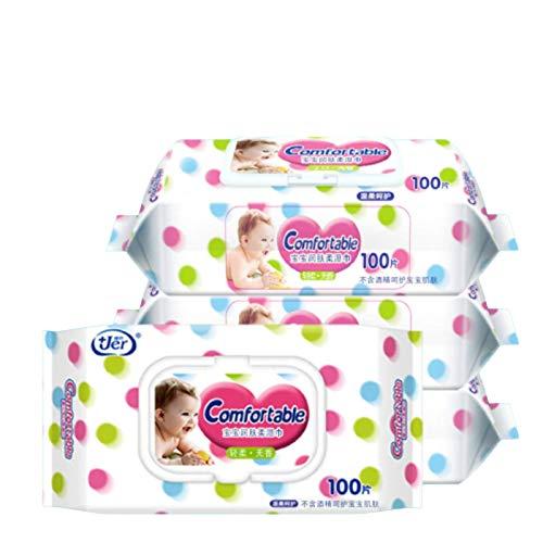 N-B Toallitas Jiaer 100 toallitas para bombear la Boca de la Mano del bebé con Tapa Toallitas húmedas limpias inodoros Desechables para recién Nacidos