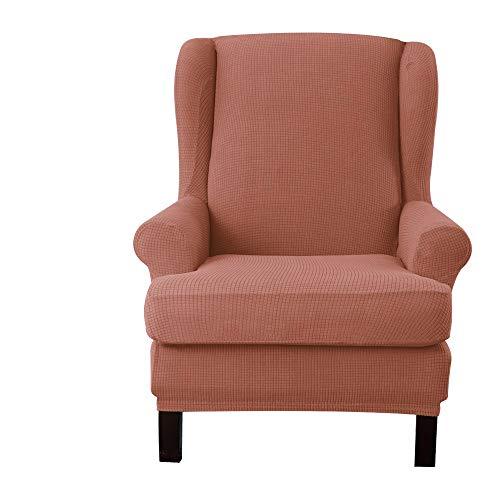 E EBETA Jacquard Sesselbezug, Sessel-Überwürfe Ohrensessel Überzug Bezug Sesselhusse Elastisch Stretch Husse für Ohrensessel (Korallenrot)