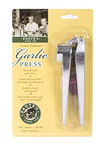 Fante's 43670 Peel, Self Cleaning Garlic Press, 6.25 x 1-Inches, The Italian Market Original Since 1906, Metallic