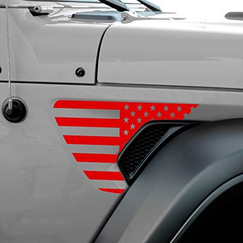 Bogar Tech Designs - Precut Side Fender Vent American Flag Vinyl Decal Compatible with Jeep Wrangler JL 2018-2020 and Gladiator 2020, Matte RED