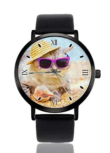 Katze Sonnenbrille Hut Strand Damen Armbanduhr Ultra Dünnes Gehäuse Extrem Einfache Analog Armband Damen Ultra Dünn Armbanduhr Japanisches Quarzwerk