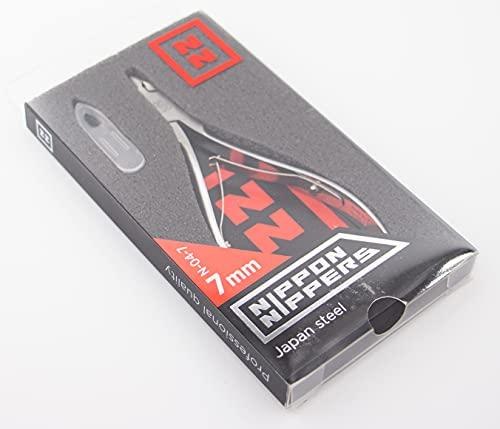 Nippon Nippers, Alicates Profesionales para Cutícula, 7 mm con talón, Acero Aleación Japonesa, Afilado Manual, Manicura Pedicura uñas, 113 mm, doble muelle, N-04-7