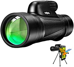 Monocular Telescope - 12X55 High Power Starscope Monocular Telescope with Smartphone Holder, BAK4 Prism & IPX7 Waterproof Monocular for Adults Kids Bird Watching Hunting Camping Hiking Traveling