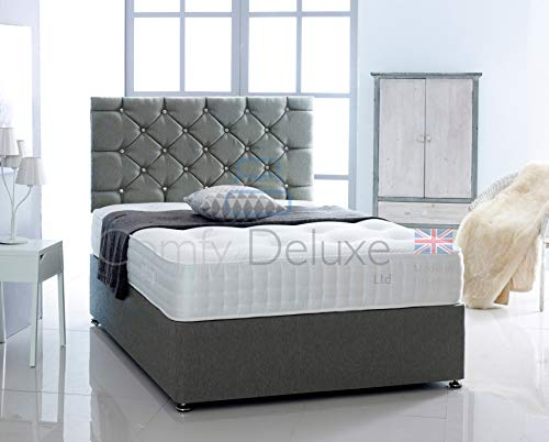 Chenille Fabric Divan Bed with Memory Foam Spring Mattress and Headboard (Grey, 4FT6-2 Drawer Same Side)