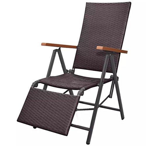 FZYHFA Chaise Longue Inclinable Résine tressée Noir 55 x 65 x 106 cm pour Maison,Jardin,Balcon