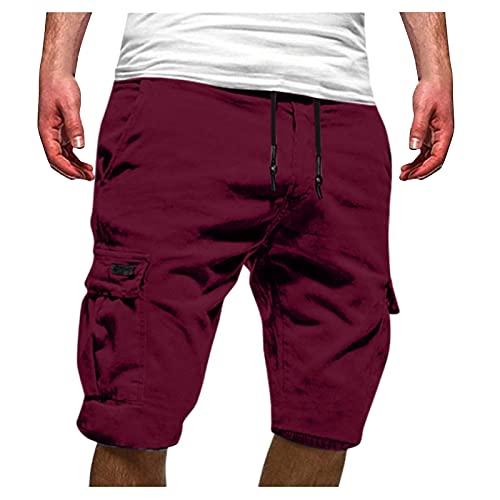 Pantalones de deporte para hombre, ligeros y suaves, estilo hip-hop, cómodos, holgados, informales, para verano, con cordón, ideal como regalo para familia y amigos, burdeos, M