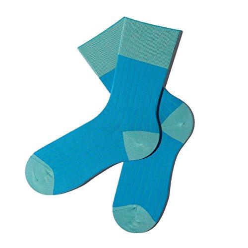Bunte Socken - Rippenmuster - Ultramarine Green - M (39-42) - GOTS zertifiziert - aus feinster Bio Baumwolle - Komfortbündchen