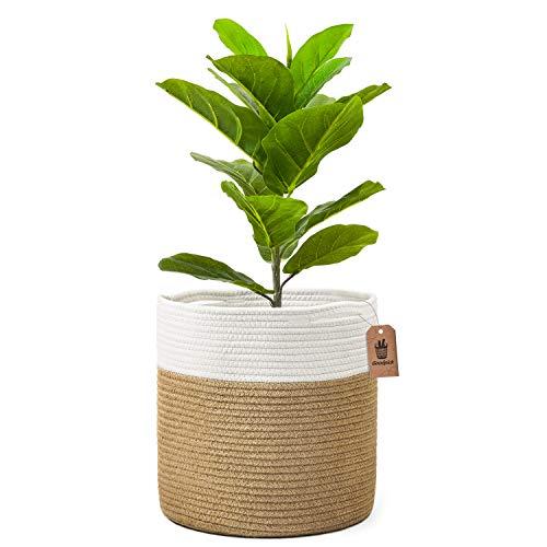 Goodpick Cesta de yute grande y resistente para macetas de 28 cm, 30,5 x 30,5 cm, organizador de almacenamiento rústico para decoración del hogar, color blanco y rayas de yute