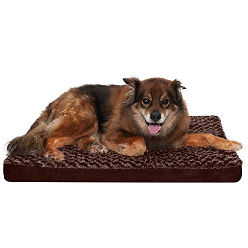 Furhaven Pet Dog Bed - Deluxe Orthopedic Mat Ultra Plush Faux Fur Traditional Foam Mattress Pet Bed with Removable Cover for Dogs and Cats, Chocolate, Large