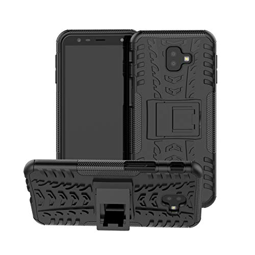 Galaxy J6 Plus Cover Hybrid DWaybox Rugged Heavy Duty Armor Hard Back Cover Case with Kickstand for Samsung Galaxy J6 Plus/J6 Prime 2018/J4 Plus/J4 Prime 2018 6.0 Inch (Black)