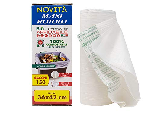 36 x 42-6 lt. - 150 sacchetti biodegradabili compostabili per umido organico - maxi rotolo