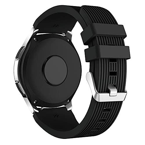 Pulseira Silicone 22mm compatível com Amazfit GTR 47mm - Stratos3 - Galaxy Watch 46mm - Gear S3 Frontier - Galaxy Watch 3 45mm - (Preto)