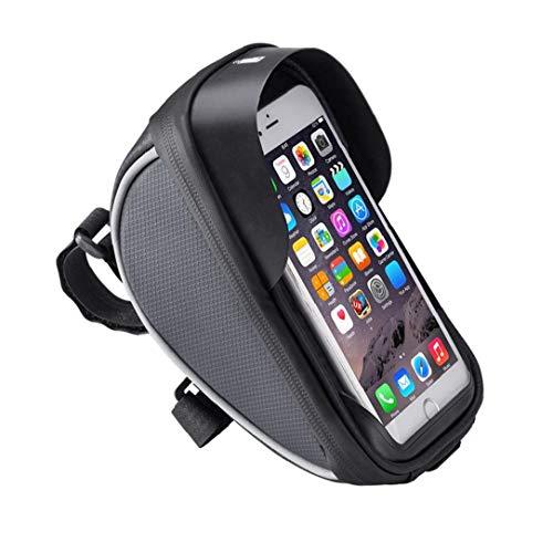 Teléfono cuadro de la bicicleta bolsa de la bolsa de montaje de la bicicleta de teléfono del bolso del manillar de la bici bicicleta bicicletas Bolsa Negro Tubo superior bolsa Productos para el Hogar