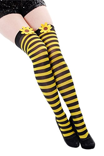 Dress Me Up - Z057 Karneval Fasching Strümpfe Overknee Kniestrümpfe Flotte Biene Hummel schwarz gelb gestreift Blume