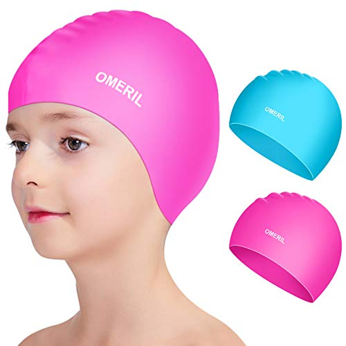 OMERIL Swim Caps, 2 Packs Durable Silicone Kids Swimming Caps. 3D Ergonomic Fit Design for Children and Teens (Age 3-8), Comfortable Fit for Girls and Boys