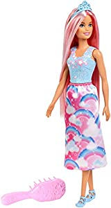 Barbie Dreamtopia doll helps imaginations dream up new lands -- and new hairstyles! She has bright pink fantasy-colored hair that's extra-long so it's extra-fun to brush -- a hairbrush that's easy for small hands to grasp is included! Barbie princ...
