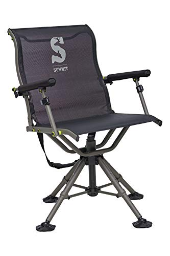 Summit Adjustable Shooting Chair | Ideal for Hunting Blinds | Wide Feet for Uneven Ground or Mud