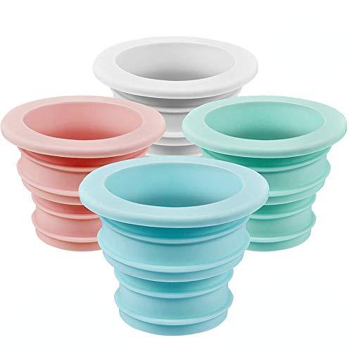 4 Piezas Anillo Silicona Desodorante Tapón Sellado, Lavadora Anillo Sellado Tubo Desagüe, para Baño Cocina Herramientas Limpieza (Azul, Rosa, Blanco, Verde)