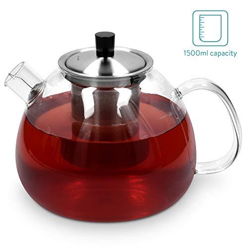 Navaris Tetera de Cristal con infusor - Tetera de Vidrio borosilicato de 1500ML con Filtro de Acero Inoxidable y Filtro de Alambre - Todo Tipo de té