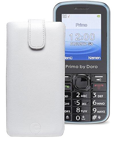 Original Favory ® Etui Tasche für / Primo 305 by Doro / Leder Etui Handytasche Ledertasche Schutzhülle Hülle Hülle *Lasche mit Rückzugfunktion* In Weiss