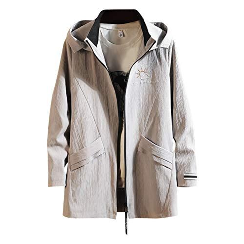 MAYOGO Herren Lange Winter Mantel Winterjacke Freizeitjacke Freizeitmantel Warm Wintermantel Jacke mit Kapuze, Grau,XXXL