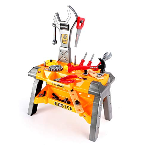 ZY Pretend Construction Workbench Toy,Toddler Tool Set,Tool Bench Set with 41 Pieces Tool Accessories,Role Play Tool Toy for Kids Toddlers